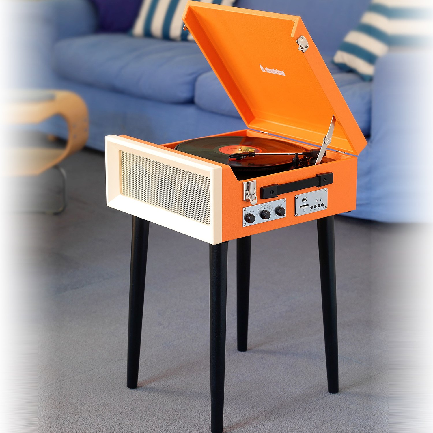 Steepletone SRP1R – 16 Record Player 3 – Speed 1970's Style on Legs with MP3 Playback (Orange)