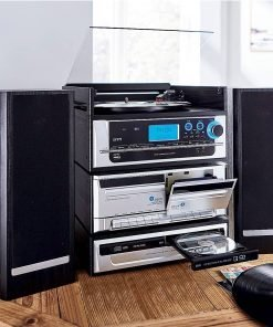Steepletone CAPITOL 6-in-1 Modular Music System with Twin CD & Cassette – CD/MP3 Recording