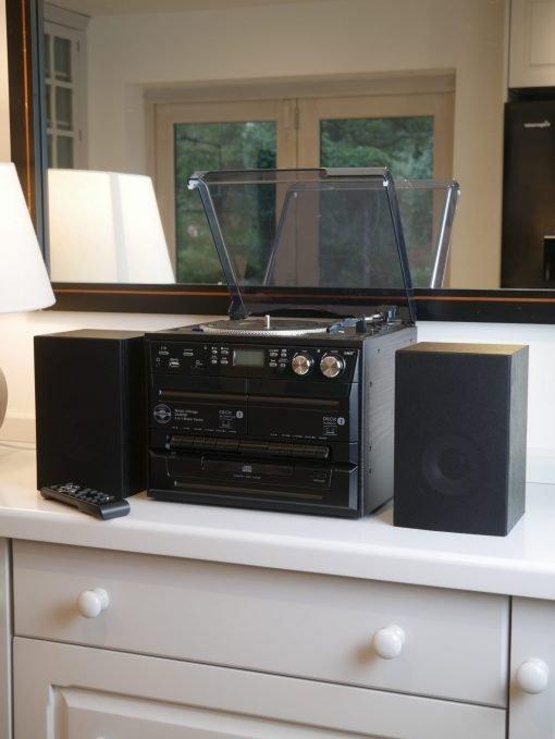 Steepletone Chicago 6-in-1 Recording Music System with Bluetooth, DAB+/FM Radio & Twin Cassette Decks (Black)