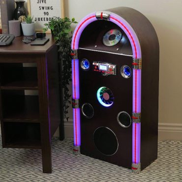 Steepletone Jive Swing 90 - Floor Standing Jukebox with Bluetooth, Radio, CD, MP3 & AUX-IN Playback