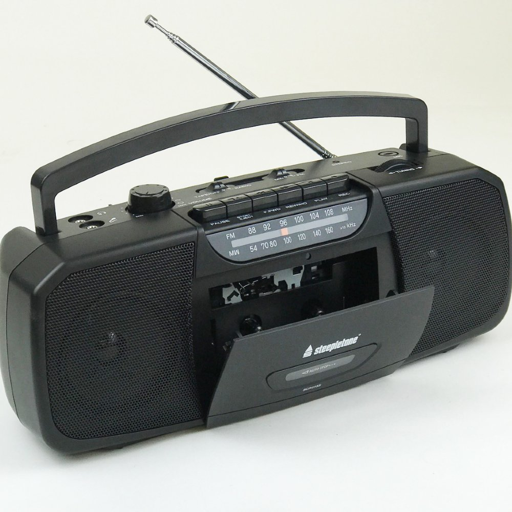 Steepletone Portable MW-FM Analogue Radio with Cassette Player/Recorder & MIC input