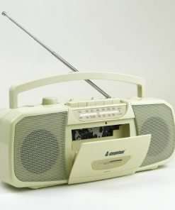 Steepletone Portable Mw-Fm Analogue Radio with Cassette Player/Recorder & MIC input (Beige)