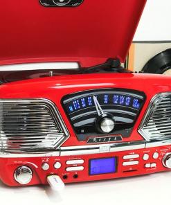 Steepletone Roxy 4 USB/CD Encode MP3 / FM Radio Record Player (Red)