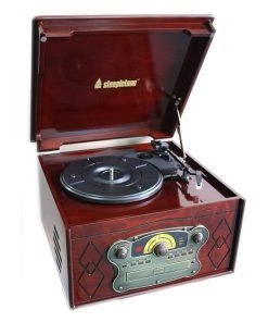 Steepletone Chichester III Nostalgic Record Player with Radio CD & Cassette Player (Dark Wood)