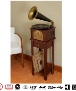 Steepletone Phono1 Gramophone Style Nostalgic 1900's Music System (Dark Wood)