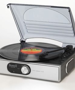 Steepletone ST938 BT 3 Speed Record Player with Bluetooth Streaming & AUX IN (Silver)