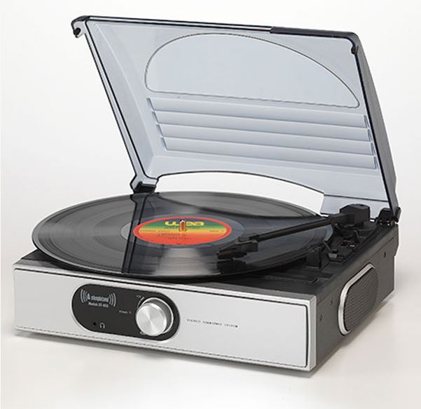 Steepletone ST938 BT 3 Speed Record Player with Bluetooh Streaming & AUX IN (Silver)