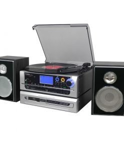 Steepletone Atlantic PRO Modular 7-in-1 Music System (Black Silver Front)