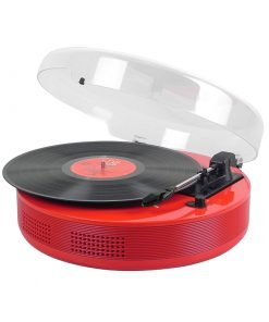 Steepletone Discgo BT Round 3 – Speed Record Player with Bluetooth Streaming –  AUX – IN / – OUT (Red)