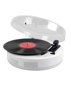 Steepletone Discgo BT Round 3 – Speed Record Player with Bluetooth Streaming – AUX – IN / – OUT (White)