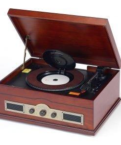 Steepletone Norfolk Stereo Retro Record & CD Player with USB / SD MP3 Recording (Dark Wood)
