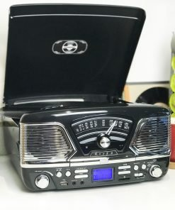 Steepletone Roxy 4 USB/CD Encode MP3 / FM Radio Record Player (Black)