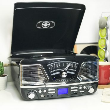 Steepletone Roxy 4 USB/CD Encode MP3 / FM Radio Record Player (Black)