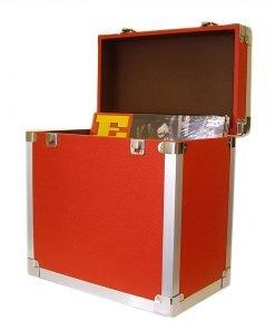 Steepletone SRB 2 12 Inch LP Vinyl Retro Style Record Storage Carry Case (Red)
