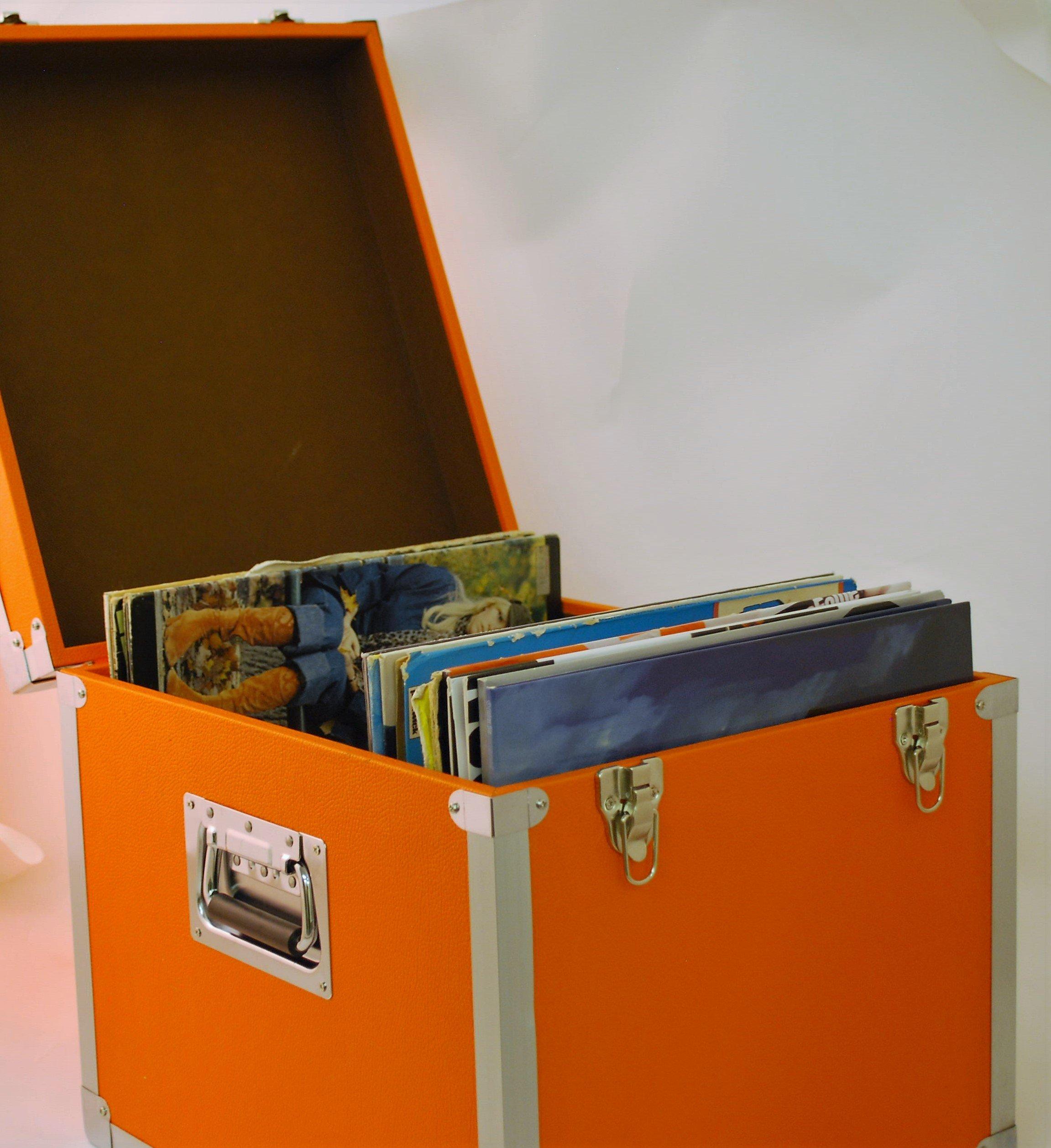 Steepletone SRB100-SRB2 COMBO Large Storage & Carry Case with Smaller LP Case Inside (Orange)