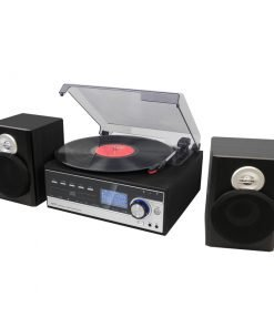 Steepletone Broadway MP3 Music System, with Bluetooth, Vinyl, Radio DC and Aux playback and MP3 to SUB Encoding (Black)
