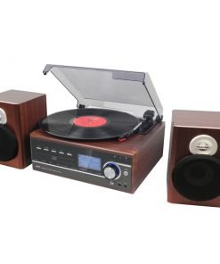 Steepletone Broadway MP3 Music System, with Bluetooth, Vinyl, Radio DC and Aux playback and MP3 to SUB Encoding (Teak)